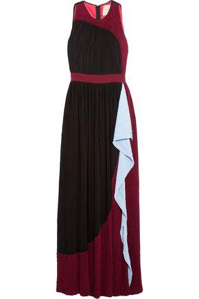 ROKSANDA Ruffled color-block plissé crepe gown
