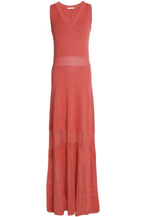 SEE BY CHLOÉ Open knit-paneled cotton maxi dress