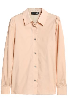 LOVE MOSCHINO Gathered stretch-cotton poplin shirt