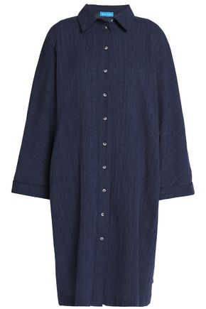M.I.H JEANS Roller crinkled cotton and linen-blend shirt dress