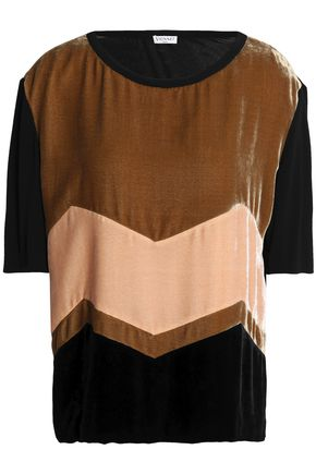 VIONNET Color-block velvet top