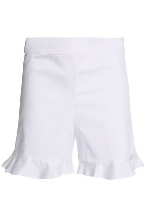 W118 by WALTER BAKER Ruffle-trimmed stretch-cotton twill shorts