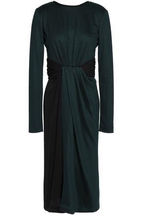 VIONNET Gathered stretch wool and silk-blend jersey dress
