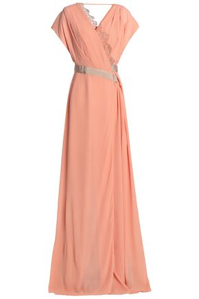 VIONNET Lace-trimmed silk-georgette wrap gown