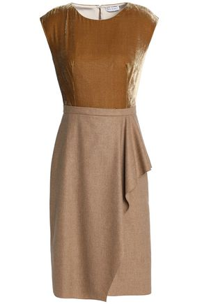 VIONNET Draped woven and velvet dress