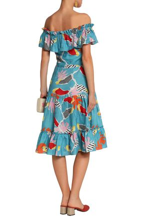 ISOLDA Santo Domingo off-the-shoulder printed linen dress
