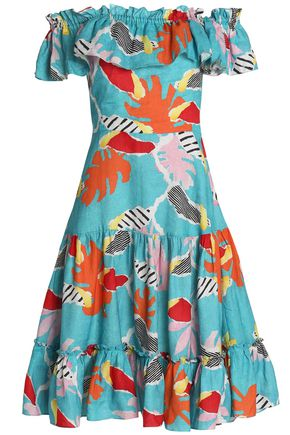 ISOLDA Santo Domingo off-the-shoulder printed linen dress