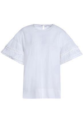 VICTORIA, VICTORIA BECKHAM Ruffle-trimmed cotton-poplin top