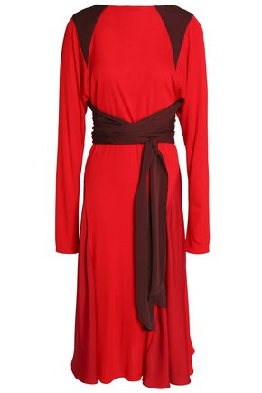 VIONNET Wrap-effect crepe de chine-paneled silk-jersey dress