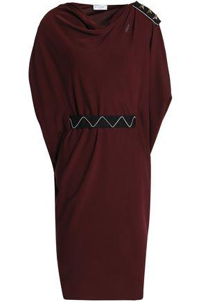 VIONNET Embellished grosgrain-trimmed silk-blend crepe de chine dress