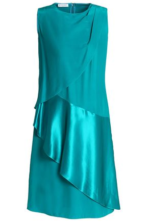 VIONNET Satin-paneled draped silk-cady dress