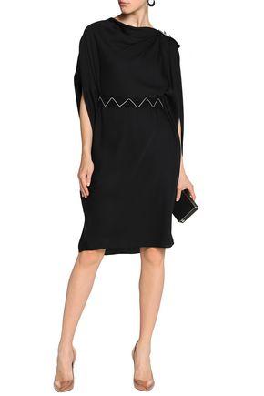 VIONNET Embellished grosgrain-trimmed draped stretch-silk dress
