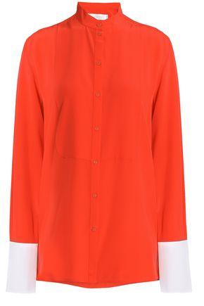 VICTORIA, VICTORIA BECKHAM Poplin-trimmed silk crepe de chine shirt