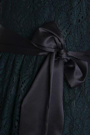 PERSEVERANCE Satin-trimmed corded lace midi dress