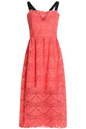 PERSEVERANCE Gathered macramé lace midi dress