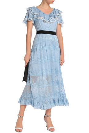 PERSEVERANCE Ruffle-trimmed embroidered silk-blend midi dress