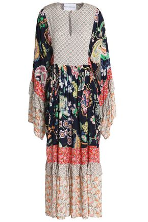 PERSEVERANCE Paneled printed crepe midi dress
