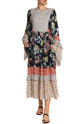 PERSEVERANCE Paneled printed crepe midi dress
