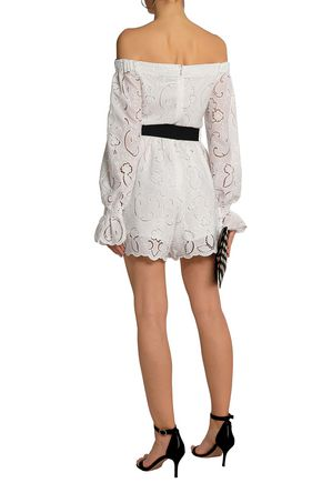 PERSEVERANCE Off-the-shoulder belted broderie anglaise playsuit