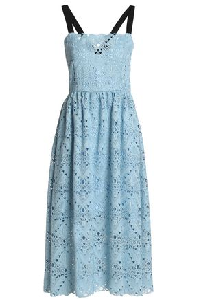 PERSEVERANCE Grosgrain-trimmed crocheted midi dress