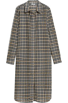 GANNI Checked cotton-blend seersucker dress