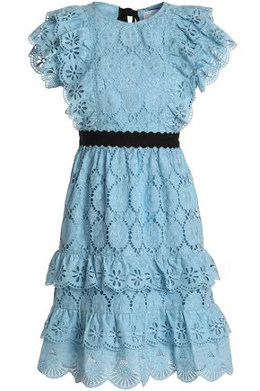 PERSEVERANCE Tie-back tiered broderie anglaise cotton dress