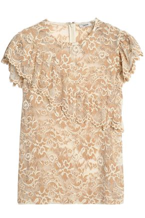 GANNI Ruffle-trimmed lace top