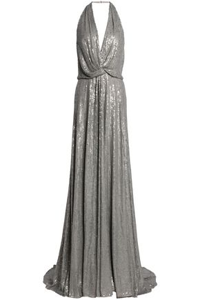 JENNY PACKHAM Twist-front sequined silk-crepe halterneck gown