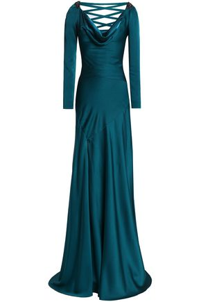 JENNY PACKHAM Bead-embellished lace-up satin-crepe gown
