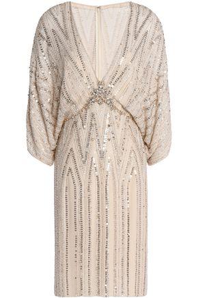 JENNY PACKHAM Embellished silk-crepe mini dress