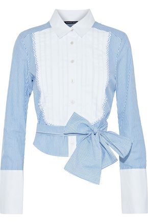 MARISSA WEBB Holgate pleated striped cotton-poplin shirt