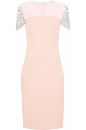 REEM ACRA Embellished tulle-paneled chiffon and cady dress