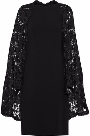 WOMAN CAPE-EFFECT GUIPURE LACE-PANELED CREPE DRESS BLACK
