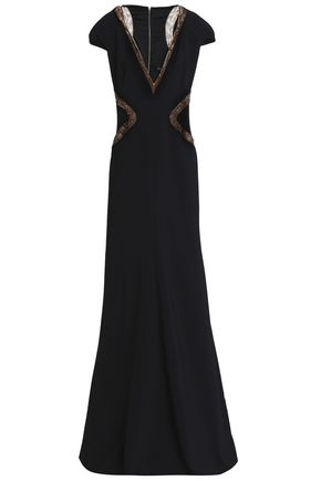 JENNY PACKHAM Tulle-trimmed embellished crepe gown