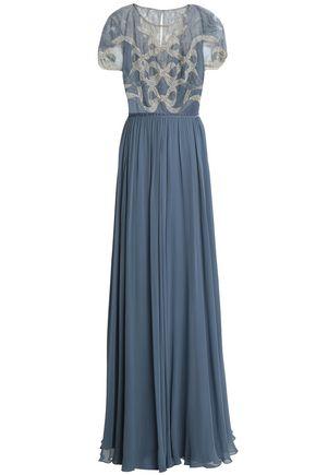 JENNY PACKHAM Embellished lace-paneled silk-blend gown