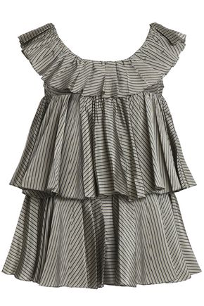 TOME Tiered striped taffeta top