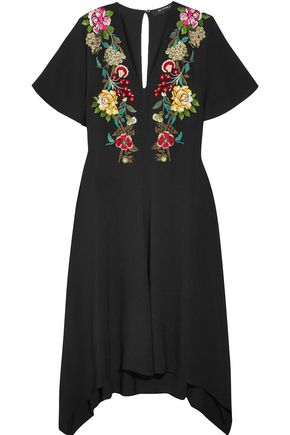 ETRO Draped embroidered crepe dress