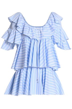 TOME Ruffled striped cotton-poplin tunic