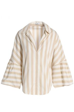 TOME Striped cotton-poplin top