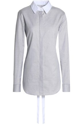 TOME Tie-back draped cotton-piqué shirt