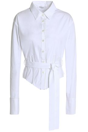 TOME Belted cotton-blend poplin shirt