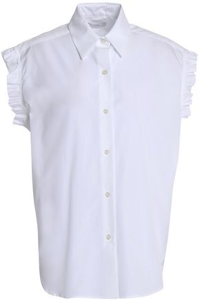 TOME Lace-up ruffle-trimmed cotton-poplin shirt