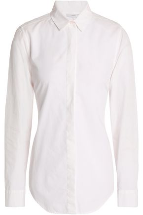 TOME Open-back draped cotton-poplin shirt