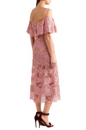 ELIE SAAB Cold-shoulder cotton-blend lace midi dress