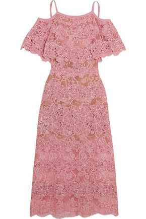 ELIE SAAB Cold-shoulder cotton-blend lace midi dress