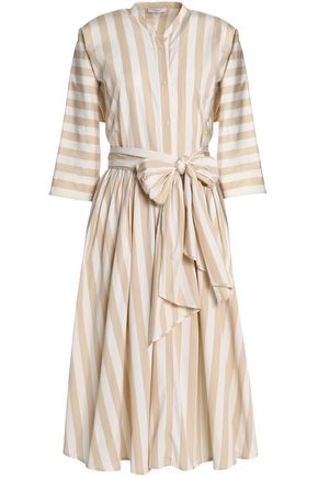 TOME Bow-detailed striped cotton-poplin midi dress