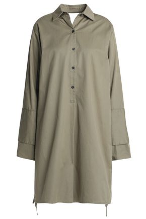 TOME Satin-paneled cutout cotton-twill shirt dress