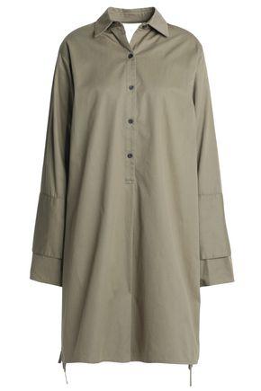 TOME Satin-paneled cotton-twill shirt dress