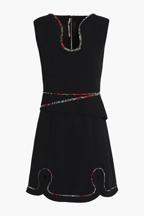 ROLAND MOURET Cutout embroidered crepe mini dress