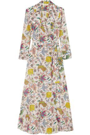 DIANE VON FURSTENBERG Floral-print cotton and silk-blend midi wrap dress